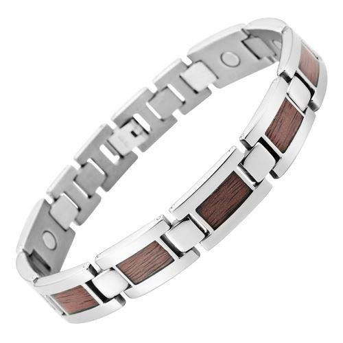 New Mens Titanium Magnetic Bracelet Wooden Inserts Free Adjuster Gift Box