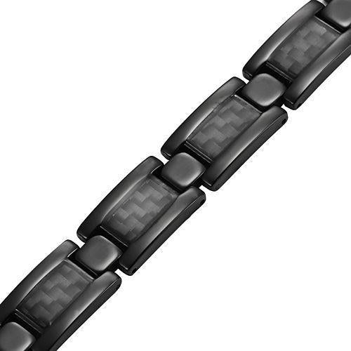 New Mens Titanium Magnetic Bracelet Black Carbon Fibre Free Adjuster Gift Box - TB134