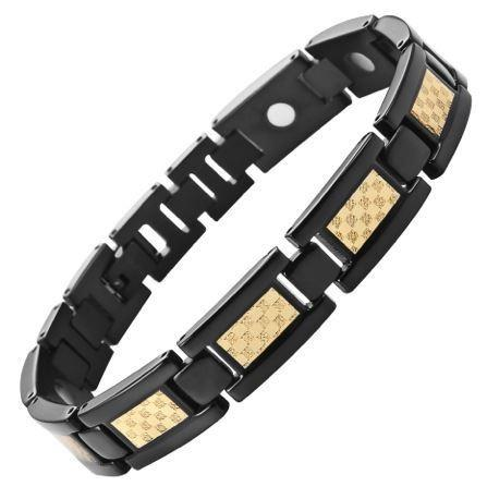 New Mens Titanium Magnetic Bracelet Gold Carbon Fibre Free Adjuster Gift Box - TB18