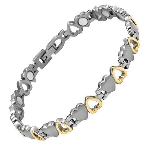 New Ladies Love Heart Titanium Magnetic Bracelet Free Adjuster Gift Box