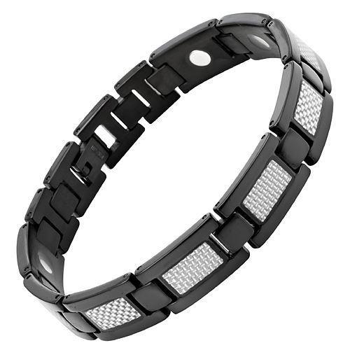 New Mens Titanium Magnetic Bracelet Silver Carbon Fibre Free Adjuster Gift Box - TB38