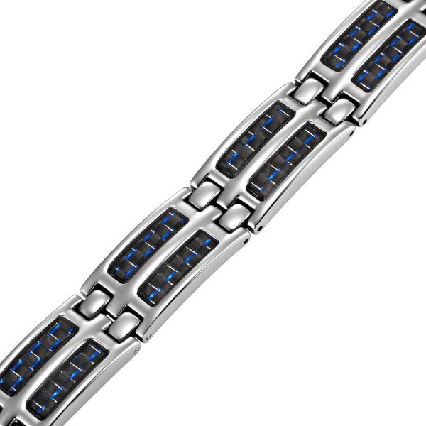 New Mens Titanium Double Magnetic Carbon fibre Bracelet + Free Adjuster Gift Box