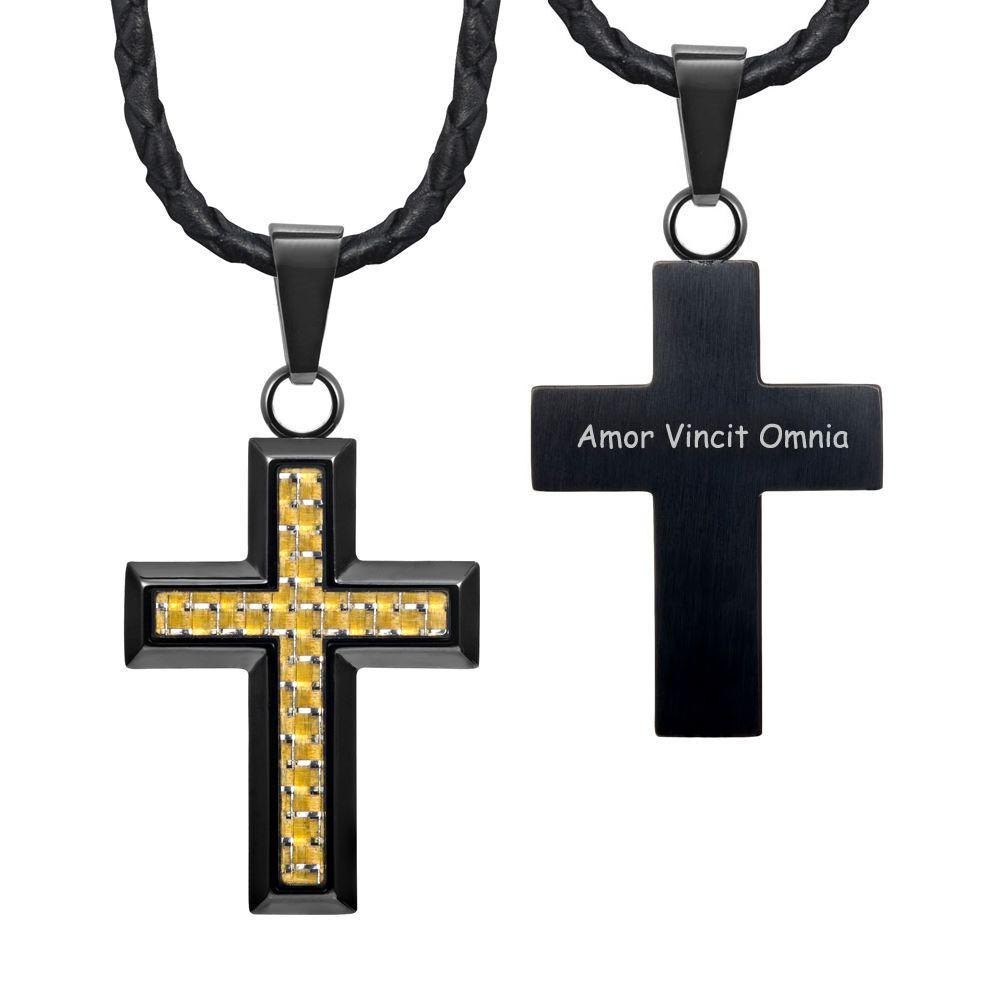 "Willis Judd New Mens Cross Pendant Engraved I Love You Carbon Fibre 22"" Leather Necklace"
