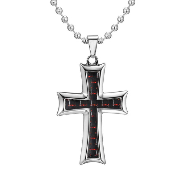 Willis Judd Mens Stainless Steel Cross Red Carbon Fiber Pendant with Necklace and Gift Pouch