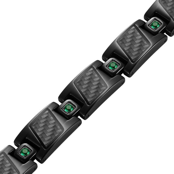 Willis Judd Men's Black Titanium with Green CZ and Black Carbon Fiber Magnetic Bracelet Gift Boxed with Link Removal Tool