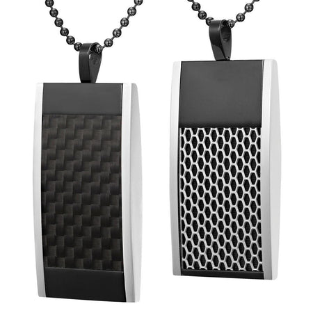Black Stainless Steel Two-Tone Honey Comb Pendant with Chain