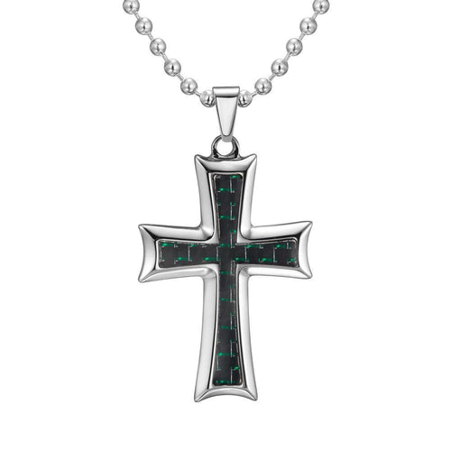 Willis Judd Mens Stainless Steel Cross Green Carbon fibre Pendant with Necklace and Gift Pouch