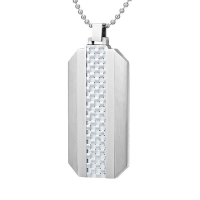 Willis Judd Mens Stainless Steel With White Carbon fibre Pendant with Necklace and Gift Pouch