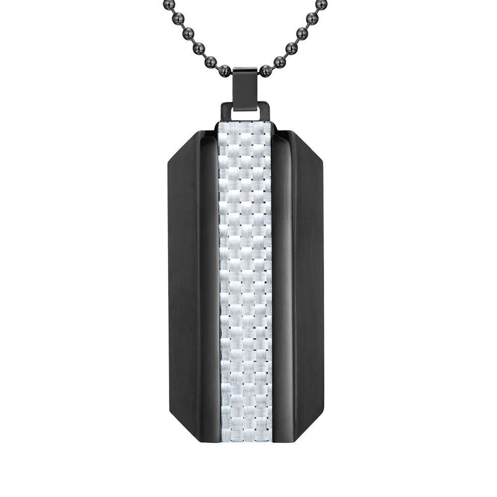 Willis Judd Mens Black Stainless Steel With White Carbon fibre Pendant with Necklace and Gift Pouch
