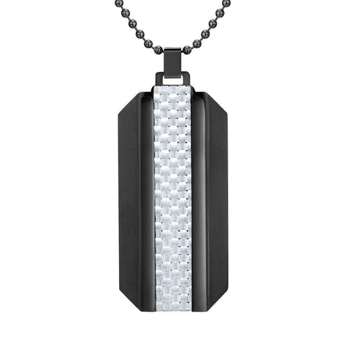 Willis Judd Mens Black Stainless Steel With White Carbon Fiber Pendant with Necklace and Gift Pouch
