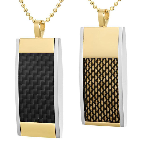Willis Judd Mens Reversible Tri Color Stainless Steel Black Carbon Fiber and Honeycomb Pendant with Necklace and Gift Pouch