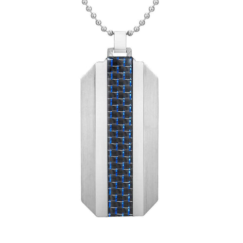 Willis Judd Mens Stainless Steel With Blue Carbon fibre Pendant with Necklace and Gift Pouch