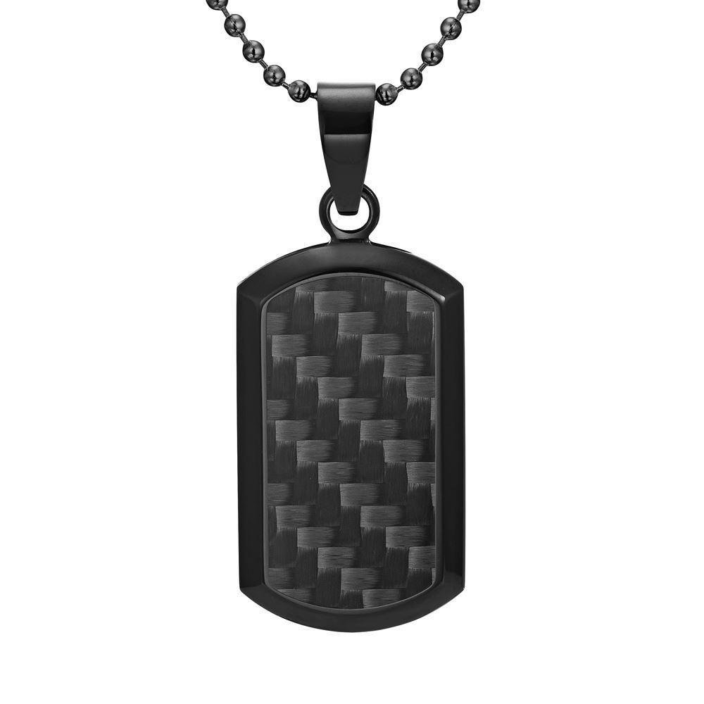 Willis Judd Men's Black Stainless Steel Dog Tag Pendant with Black Carbon Fiber and Necklace & Pouch