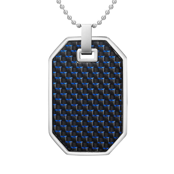 Willis Judd Mens Reversible Stainless Steel Blue Carbon Fiber and Checker Plate Effect Pendant with Necklace and Gift Pouch