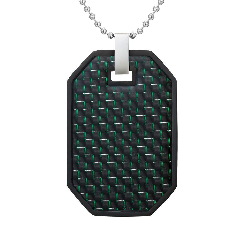 Willis Judd Mens Reversible Black Stainless Steel Green Carbon fibre and Checker Plate Effect Pendant with Necklace and Gift Pouch