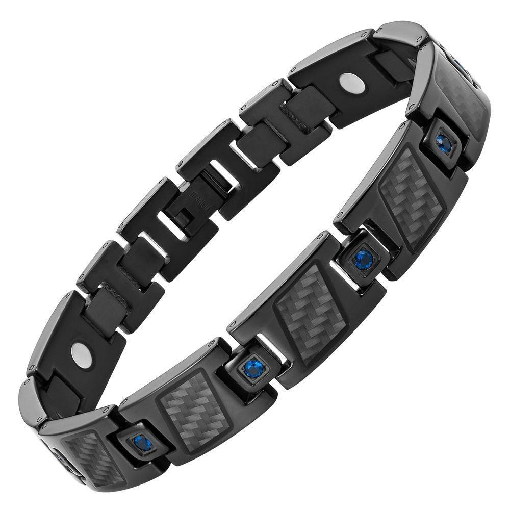 Willis Judd Men's Black Titanium with Blue CZ and Black Carbon Fiber Magnetic Bracelet Gift Boxed with Link Removal Tool
