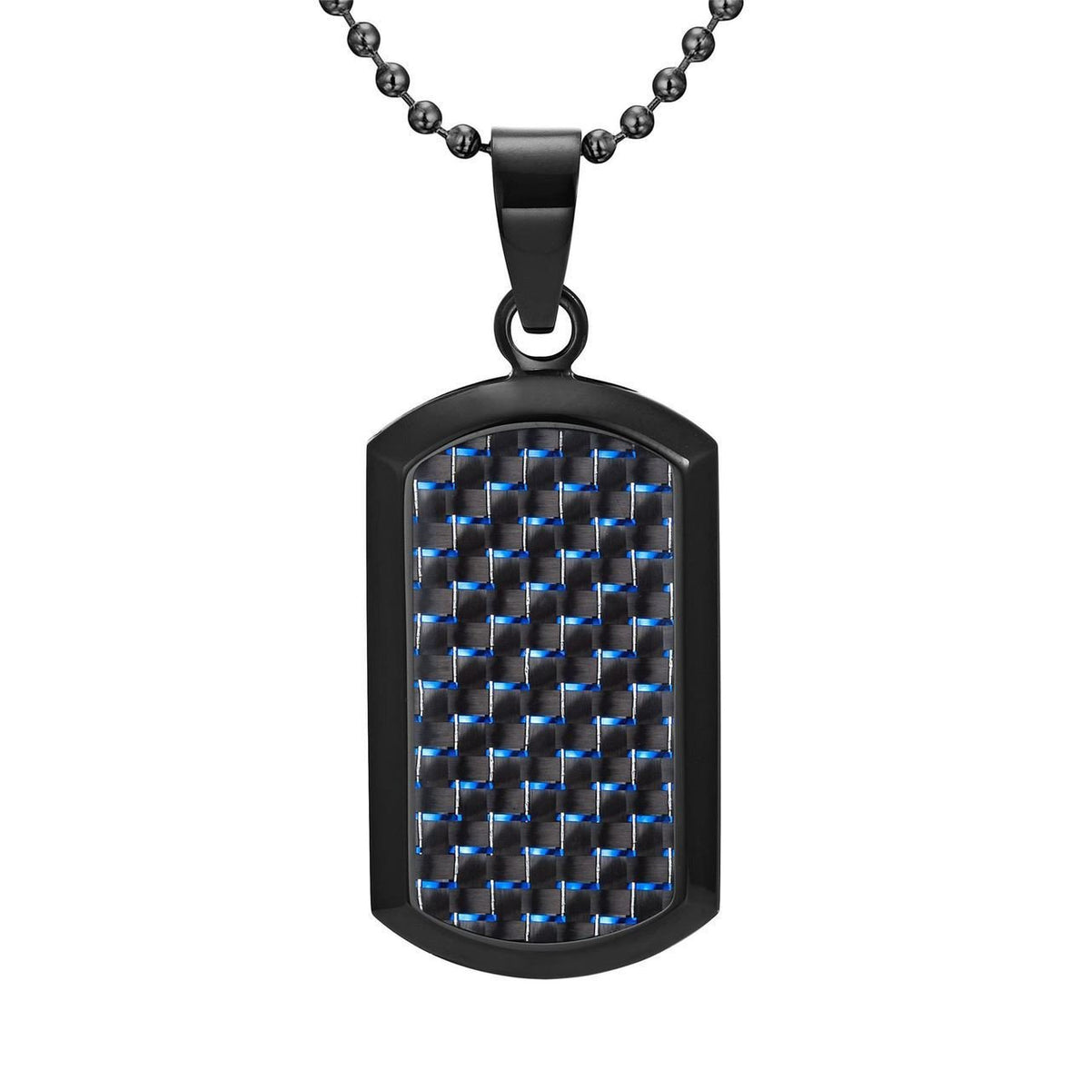 Willis Judd Men's Black Stainless Steel Dog Tag Pendant Engraved US Marine Latin Semper Fidelis with Blue Carbon fibre and Necklace with Gift Pouch
