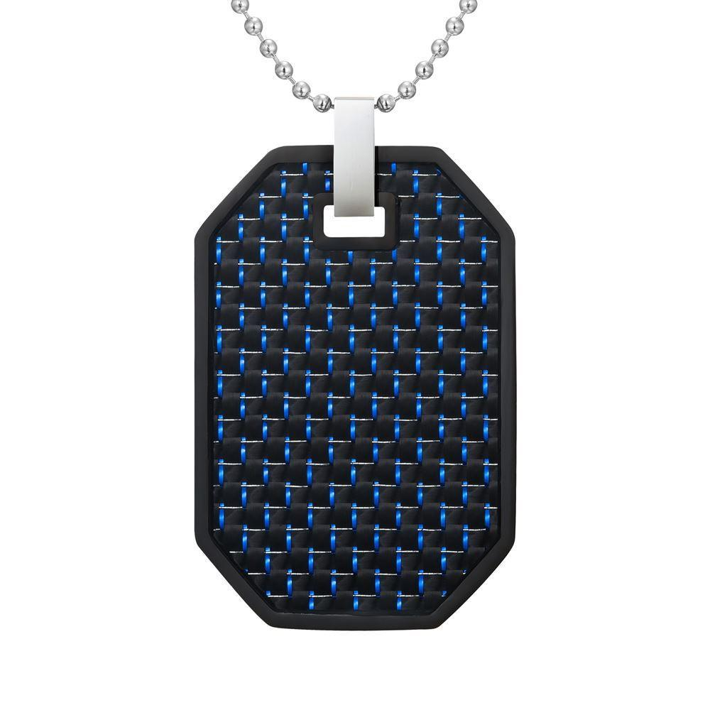 Willis Judd Mens Reversible Black Stainless Steel Blue Carbon Fiber and Checker Plate Effect Pendant with Necklace and Gift Pouch