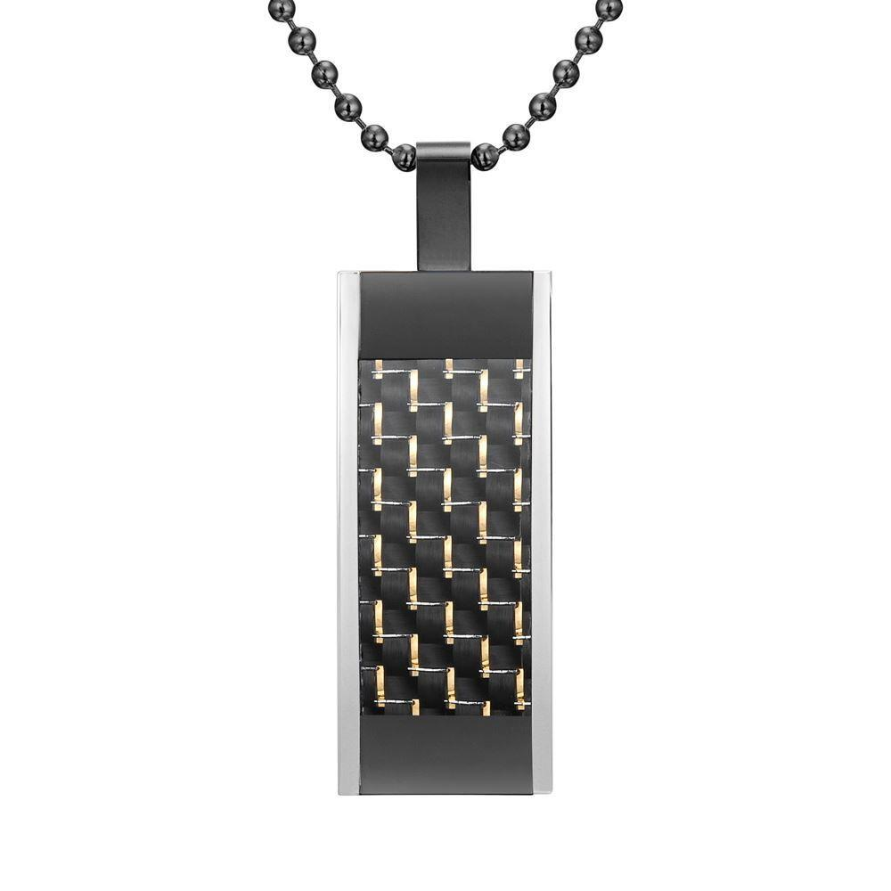 Willis Judd Mens Black Stainless Steel Tri Color with Carbon Fiber Pendant with Necklace and Gift Pouch