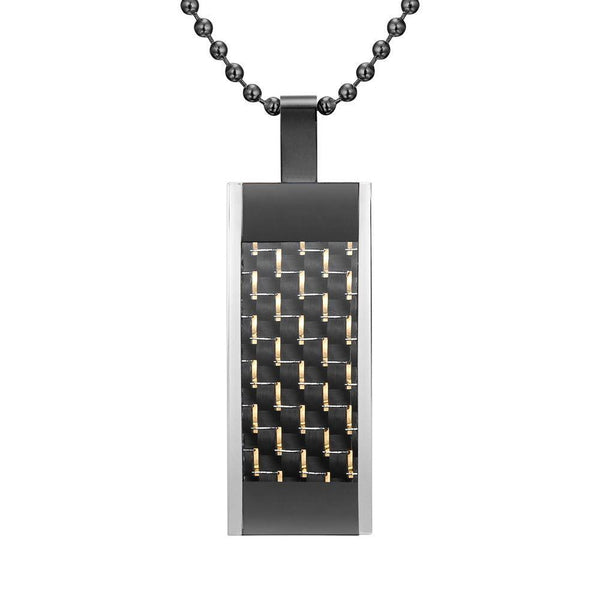 Willis Judd Mens Black Stainless Steel Tri Color with Carbon fibre Pendant with Necklace and Gift Pouch