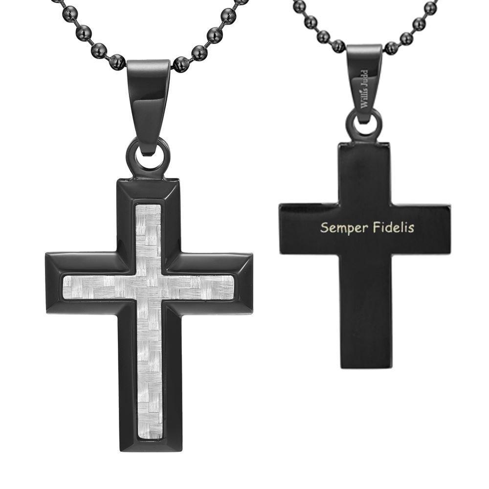 Willis Judd Men's Black Stainless Steel Cross Pendant Engraved US Marine Latin Semper Fidelis with Carbon Fiber and Necklace with Gift Pouch