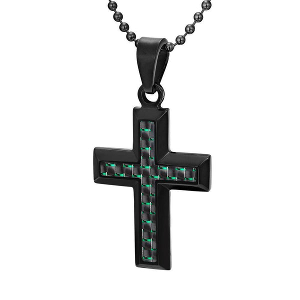 Willis Judd Men's Black Stainless Steel Cross Pendant with Green Carbon Fiber with Necklace & Gift Pouch