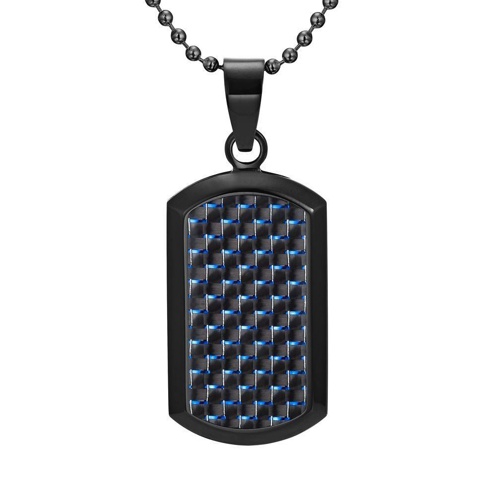 Willis Judd Men's Black Stainless Steel Dog Tag Pendant with Blue Carbon Fiber and Necklace & Pouch