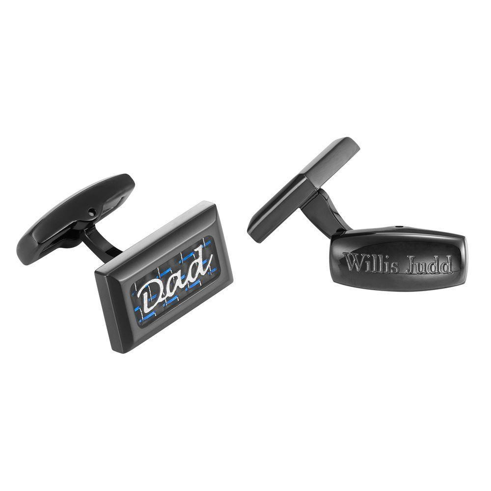 Willis Judd Men's DAD Black Stainless Steel with Blue Carbon FIber Cufflinks with Gift Pouch