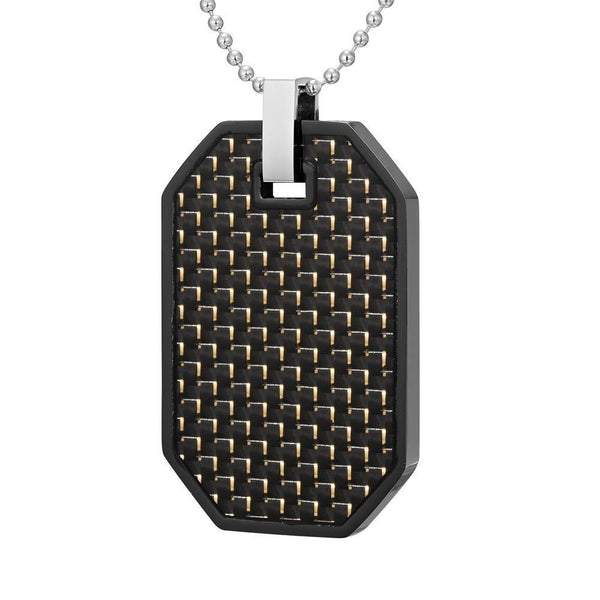 Willis Judd Mens Reversible Black Stainless Steel Carbon fibre and Checker Plate Effect Pendant with Necklace and Gift Pouch