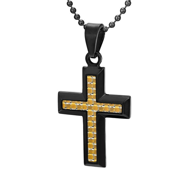 Willis Judd Men's Black Stainless Steel Cross Pendant Engraved US Marine Latin Semper Fidelis with Colored Carbon Fiber and Necklace with Gift Pouch