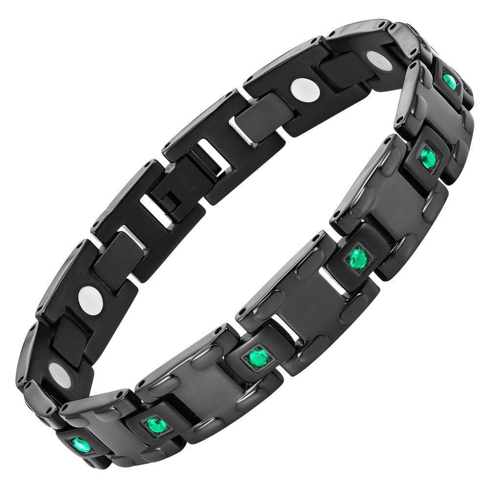 Willis Judd Men's Black Titanium with Green CZ Magnetic Bracelet Gift Boxed with Link Removal Tool