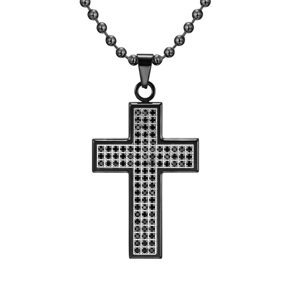 Willis Judd Mens Black Stainless Steel Cross CZ Pendant with Necklace and Gift Pouch