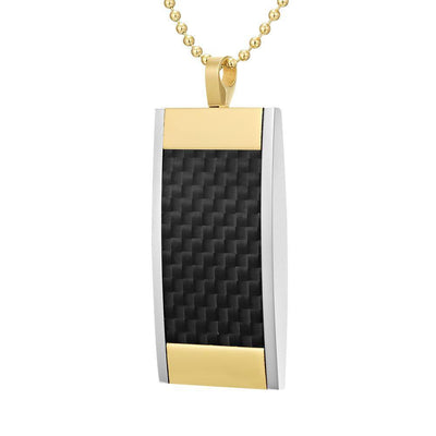 Willis Judd Mens Reversible Tri Color Stainless Steel Black Carbon fibre and Honeycomb Pendant with Necklace and Gift Pouch