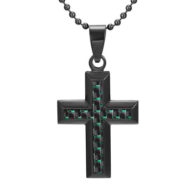 Willis Judd Men's Black Stainless Steel Cross Pendant Engraved Love You Dad with Green Carbon Fiber and Necklace with Gift Pouch