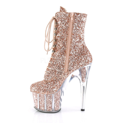 fce45aecf904 ... Rose Gold Glitter Filled Platform Ankle Boot Lace Up Exoctic Dancer  Pleaser ...