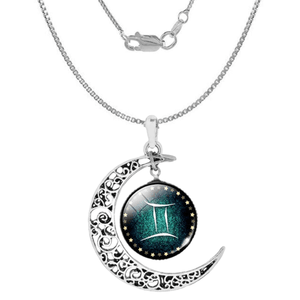 Gemini Zodiac Moon Pendant Necklace