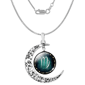 Virgo Zodiac Moon Pendant Necklace