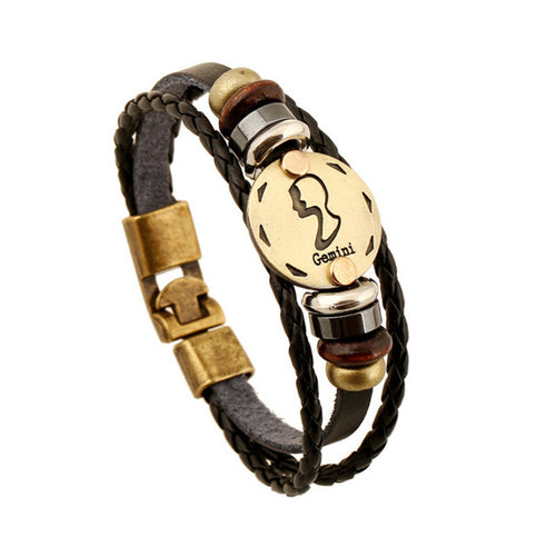 Gemini Zodiac Leather & Metal Bracelet