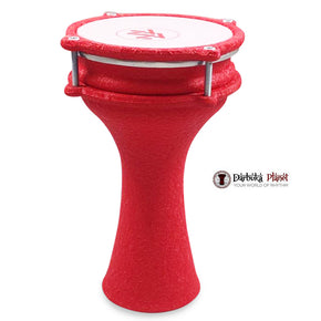 Zaza Percussion 10'' Turkish Red Leather Darbuka Aluminum Darbuka Doumbek, Synthetic Head