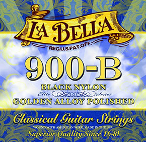 La Bella 900B Elite Classical Guitar Strings Black Nylon Polished Golden Alloy