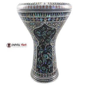 The 17'' Egyptian Black Widow With Blue Mother of Pearl Gawharet El Fan Darbuka Doumbek - Blemish