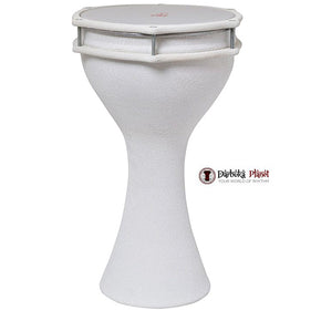 Zaza Percussion -The 17'' White Crocodile Leather Finish Aluminum Darbuka Doumbek, Synthetic Head