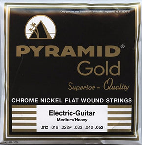 Pyramid Electric Guitar Gold Chrome Nickel Flat Wound Round Core Med/Heavy 12-52 /414 100