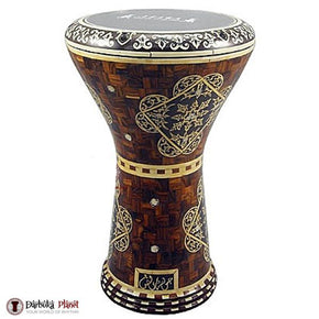 "17"" Wooden Design Darbuka Gawharet El Fan Drum"