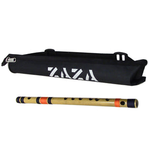 Zaza Percussion- Professional  Scale G Middle Flute 13'' Inches Polished Bamboo Bansuri Flute (Indian Flute)  With Carry Bag