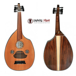 Professional Turkish Oud Flat Walnut Red Cedar + Soft Case - Cat#FL3WR