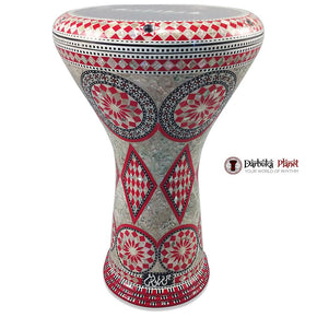 The 17'' Egyptian Red Star Mother of pearl Gawharet El Fan Darbuka Doumbek