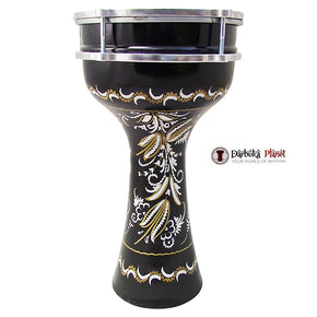 The ZAZA Percussion The 16'' Black Lotus Aluminum Darbuka Doumbek.
