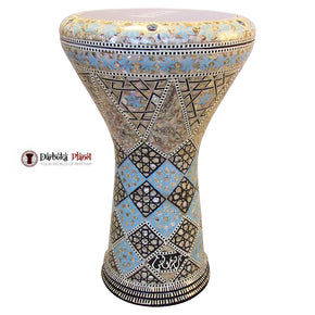 "The Blue Wind Gawharet El Fan 17"" Mother of Pearl Darbuka"