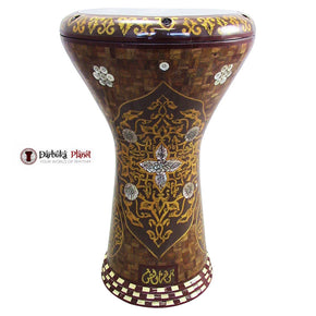 "The Yellow Flower Gawharet El Fan 17"" Mother of Pearl Darbuka"